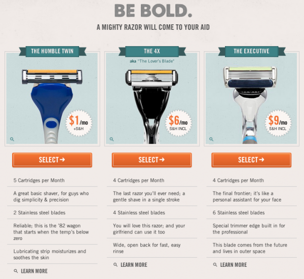 Dollar Shave Club menu